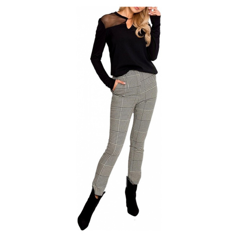 Dámské smetanovo-černé kárované kalhoty