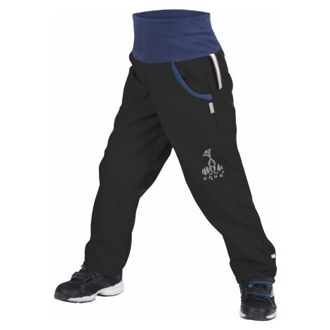 Dětské softshellové kalhoty UNUO s fleecem Černé + reflexní obrázek Evžen (Softshell kids trouse
