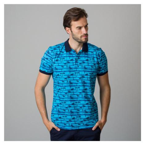 Pánské polo tričko modré s potiskem černých palem 11842
