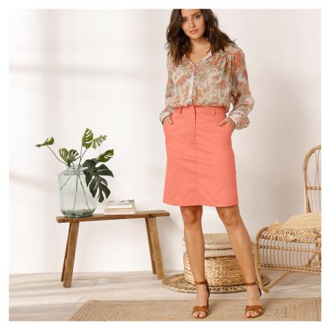 Blancheporte Jednobarevná rovná sukně korálová