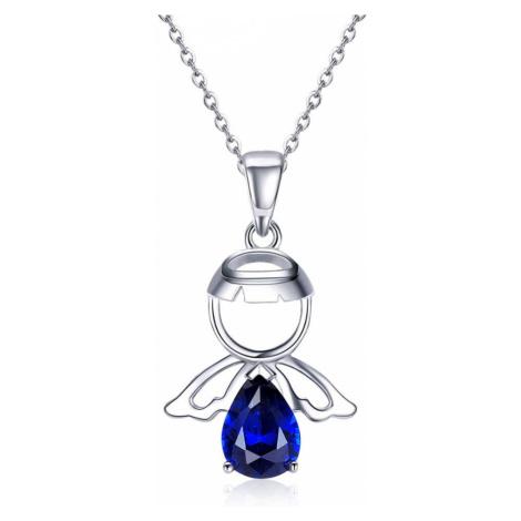 OLIVIE Stříbrný náhrdelník MODRÝ ANDĚL 3498