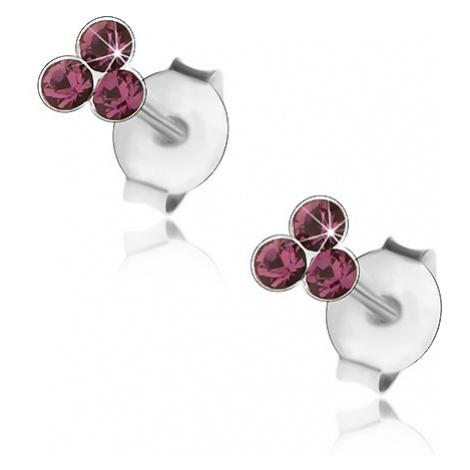 Stříbrné 925 náušnice, tři kulaté krystalky Swarovski fialové barvy Šperky eshop