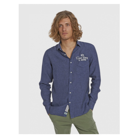 Košile La Martina Man L/S Shirt Light Linen - Modrá