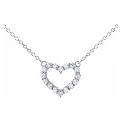 Silvego Stříbrný náhrdelník srdíčko se zirkony JJJN0685