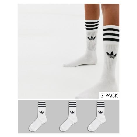 Adidas Originals 3 pack solid crew socks in white