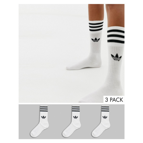 Adidas Originals trefoil 3 pack crew socks in white