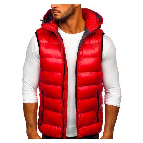 Červená pánská prošívaná vesta s kapucí Bolf 6506 Nature