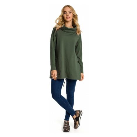 Oversize dámský pulovr rolák svetr s kapucí MOE M344