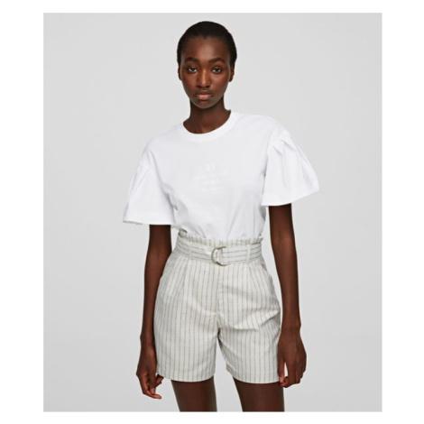 Tričko Karl Lagerfeld Puffy Sleeve Top W/ Logo - Bílá