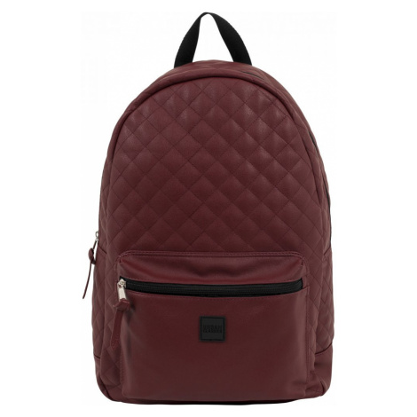Diamond Quilt Leather Imitation Backpack - burgundy Urban Classics