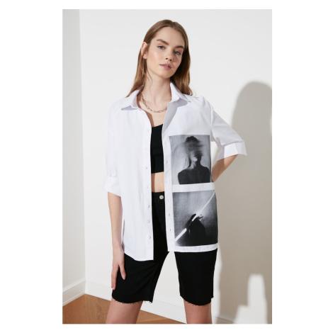 Trendyol White Printed Oversize Shirt