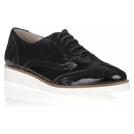 Maria Jaén Černé kožené boty na bílé podrážce María Jaén