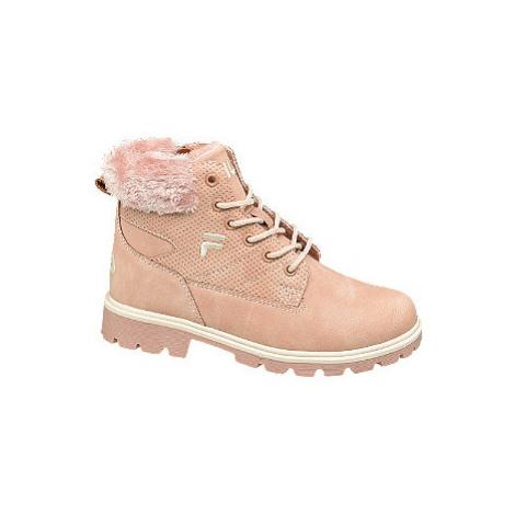 Růžová kotníková šněrovací obuv se zipem Fila