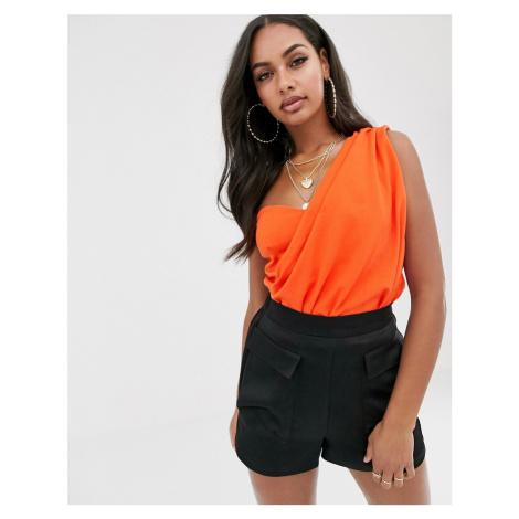 Missguided drape one shoulder bodysuit in orange-Red