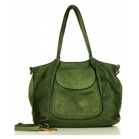 Kožená kabelka přes rameno Mazzini M86 zelená