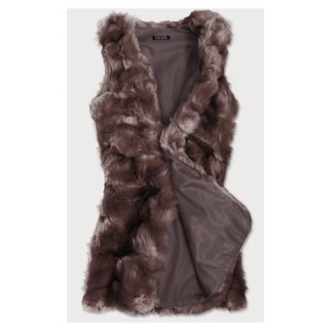 Dlouhá hnědá vesta z umělé kožešiny (102#) hnědá
