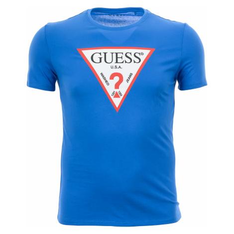 Pánské modré tričko Guess s potiskem trojúhelníku