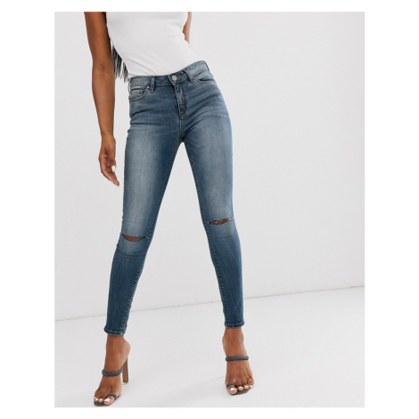 ASOS DESIGN lisbon mid rise 'skinny' jeans in extreme dark stonewash with knee rips-Blue