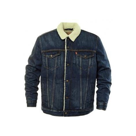 Džínová bunda Levi´s® Sherpa Trucker pánská tmavě modrá