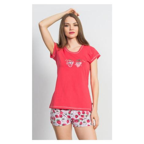 Dámské pyžamo šortky Vienetta Secret Jahody | jahodová