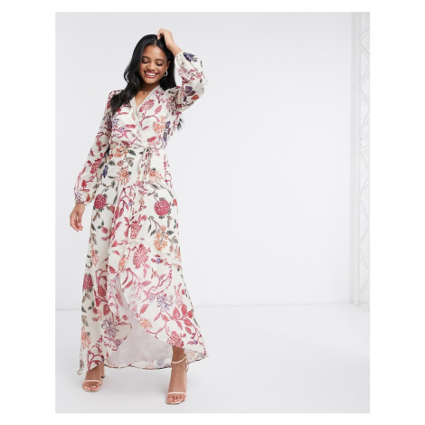 Hope & Ivy wrap front maxi dress with lace neckline in floral print-Grey