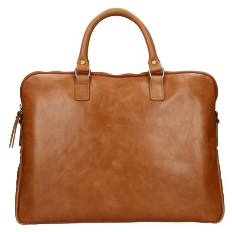 Unisex kožená taška na notebook Facebag Milano - koňak