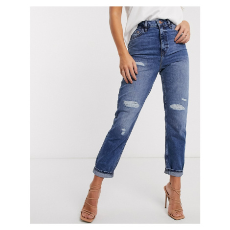 River Island Carrie ripped high rise mom jeans in mid auth blue