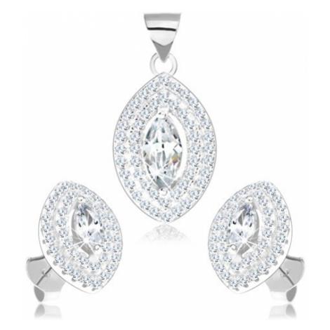 Sada náušnic a přívěsku, stříbro 925, čiré zirkonové zrnko s dvojitým lemem Šperky eshop