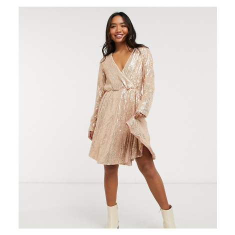 Collective the Label Petite sequin wrap mini dress in rose gold ombre sequin