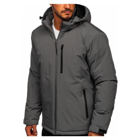 Grafitová pánská zimní lyžařská sportovní bunda Bolf HH011 J.STYLE
