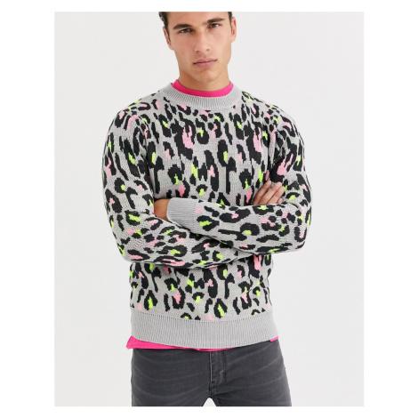 Brave Soul animal print crew neck jumper-Grey
