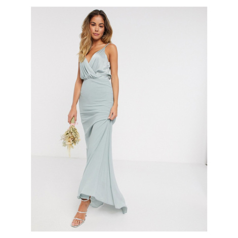 TFNC bridesmaid contrast wrap cami maxi dress in sage-Green