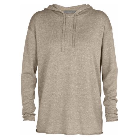 Dámský svetr ICEBREAKER Wmns Flaxen LS Hooded Pullover Sweater, British Tan HTHR (vzorek) Icebreaker Merino
