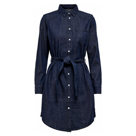Jacqueline de Yong Dámské šaty JDYESRA LIFE SHIRT DRESS DNM NOOS Dark Blue Denim
