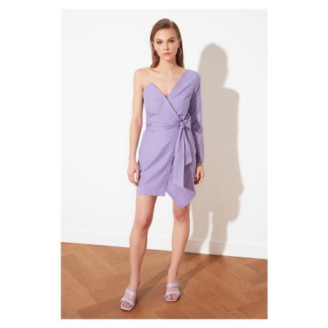 Trendyol Lila Belt Poplin Dress