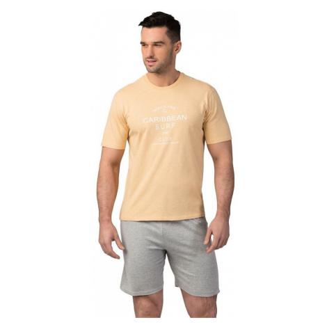 Pánské bavlněné pyžamo Matt žluté Rossli