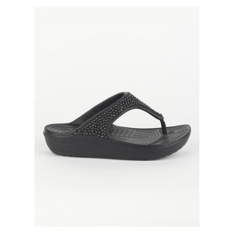 Žabky Crocs Sloane Embellished Flip Black/Black Černá