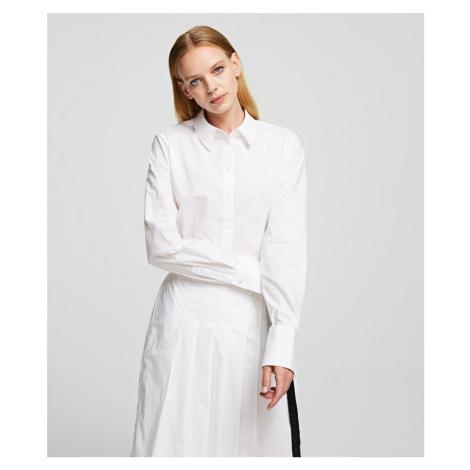 Šaty Karl Lagerfeld Poplin Shirt Dress W/ Pleats - Bílá