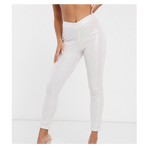 ASOS DESIGN Petite Rivington high waist jeggings with V front in glitter in pale pink