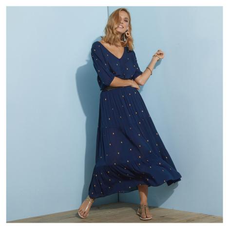 Blancheporte Dlouhá sukně se zlatým potiskem nám.modrá/zlatá