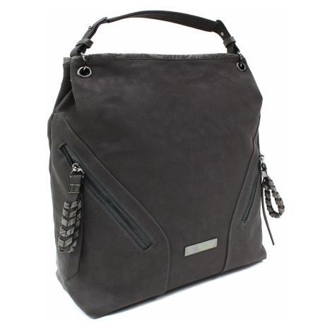 Tmavě šedá velká dámská kabelka do ruky a přes rameno Creissant Lucky Queen (PL)