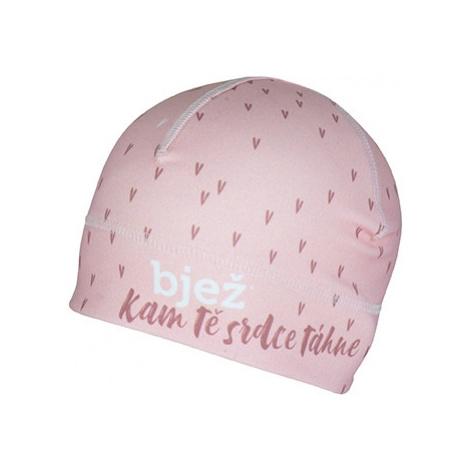 Sportovní čepice otvorem pro culík Bjež HEART růžová BJEŽ