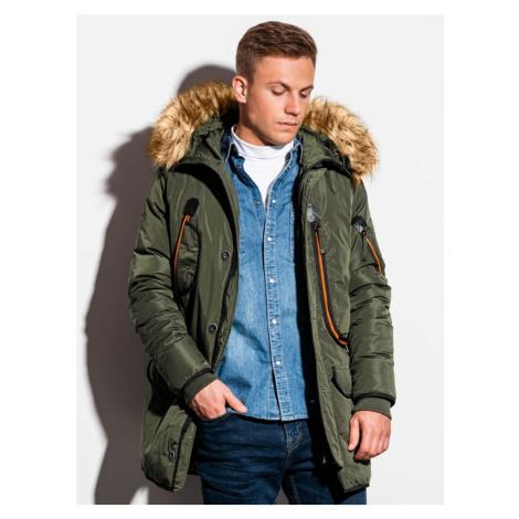 Ombre Clothing Zelená zimní bunda s kapucí c369