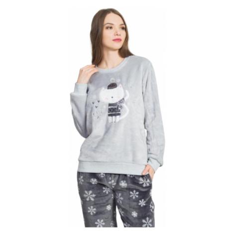 Dámské pyžamo dlouhé Vienetta Secret Kočka se šálou | šedá