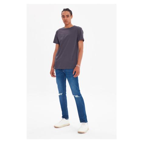 Trendyol Anthracite Men's Regular Fit Crew Neck Short Sleeve Printed T-Shirt