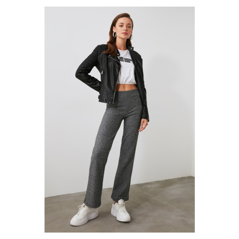 Trendyol Grey Checkered Knitted Trousers