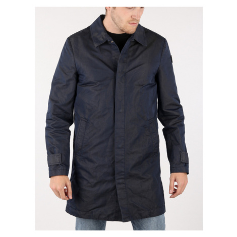 Bunda Trussardi Trench Regular Fit Gabardine Poly/Cotton Garment Modrá