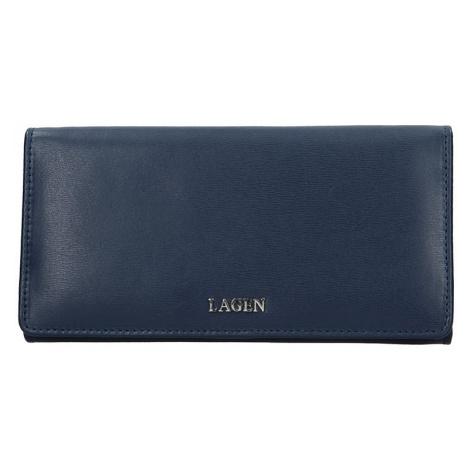 Dámská kožená peněženka Lagen Evelin - tmavě modrá