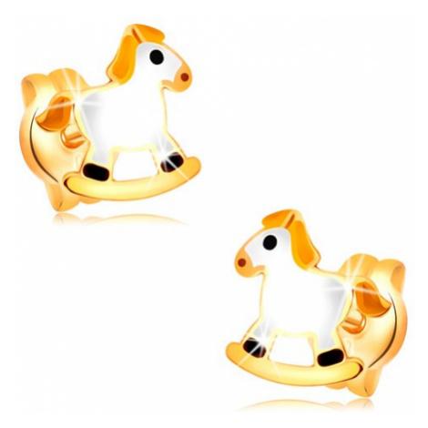 Puzetové náušnice ve žlutém zlatě 14K - bílý houpací koník se žlutou hřívou Šperky eshop
