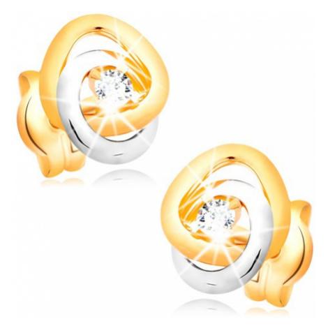 Náušnice ve 14K zlatě - dvoubarevné propojené prstence, čirý třpytivý briliant Šperky eshop